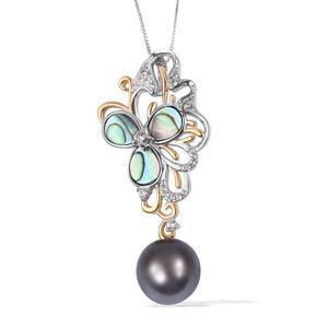 Tahitian Pearl (12-13 mm), Multi Gemstone 14K YG Over Sterling Silver Pendant With Chain (18 in) TGW 0.60 cts.