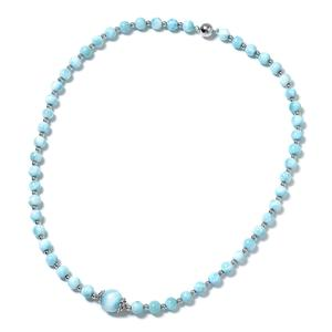 Larimar Beads Black Oxidized Sterling Silver Necklace (18 in) TGW 113.50 cts.