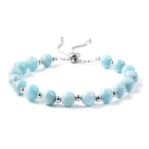 Larimar Beads Sterling Silver Bolo Bracelet (Adjustable) TGW 25.30 cts.