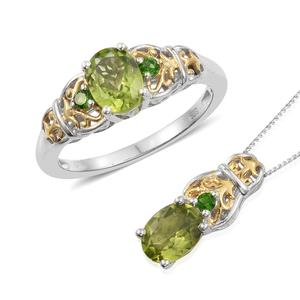 Hebei Peridot, Russian Diopside 14K YG and Platinum Over Sterling Silver Ring (Size 5) and Pendant With Chain (20 in) TGW 2.85 cts.