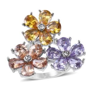 Simulated Multi Gemstone, White Austrian Crystal Stainless Steel Ring (Size 8.0) TGW 6.50 cts.