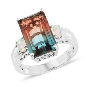 Aqua Terra Costa Quartz, Ethiopian Welo Opal Platinum Over Sterling Silver Ring (Size 8.0) TGW 11.00 cts.
