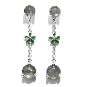 GP Malagasy Labradorite, Multi Gemstone Platinum Over Sterling Silver Floral Drop Earrings TGW 15.20 cts.