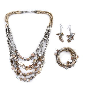 Beige Glass Beads Stainless Steel Earrings, Bracelet and Necklace