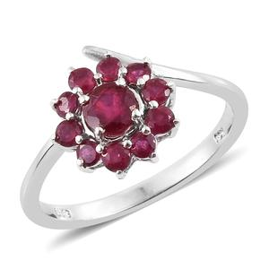 Niassa Ruby Platinum Over Sterling Silver Flower Bypass Ring (Size 8.0) TGW 1.75 cts.