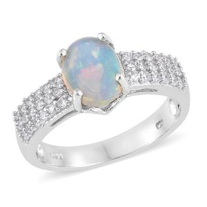 Ethiopian Welo Opal, Cambodian Zircon Platinum Over Sterling Silver Ring (Size 10.0) TGW 2.25 cts.