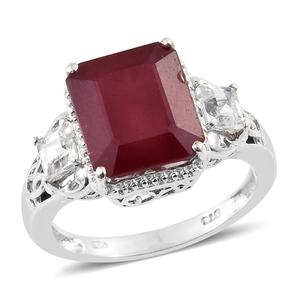 Niassa Ruby, White Topaz Platinum Over Sterling Silver Ring (Size 7.0) TGW 10.45 cts.