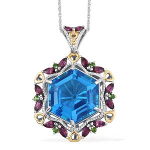 Caribbean Quartz, Multi Gemstone Vermeil YG and Platinum Over Sterling Silver Pendant With Chain (20 in) TGW 33.66 cts.