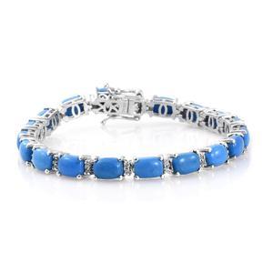 Ceruleite, Cambodian Zircon Platinum Over Sterling Silver Bracelet (6.50 In) TGW 12.90 cts.