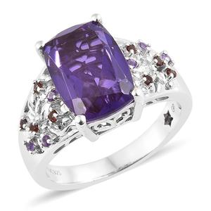 GP Lavender Alexite Quartz, Multi Gemstone Platinum Over Sterling Silver Ring (Size 7.0) TGW 6.88 cts.