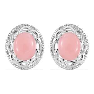 Peruvian Pink Opal Platinum Over Sterling Silver Earrings TGW 4.10 cts.