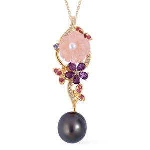 Tahitian Pearl (11-11.5 mm), Multi Gemstone 14K YG Over Sterling Silver Elongated Floral Drop Pendant With Chain (18 in) TGW 6.02 cts.