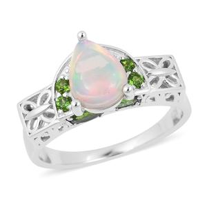 Customer Appreciation Day Ethiopian Welo Opal, Russian Diopside Sterling Silver Royal Ring (Size 7.0) TGW 1.86 cts.