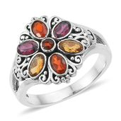 Artisan Crafted Multi Gemstone Sterling Silver Ring (Size 7.0) TGW 1.66 cts.