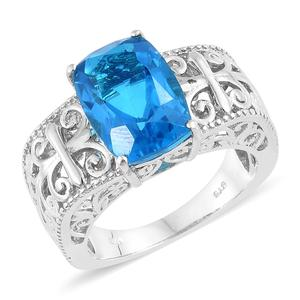 Caribbean Quartz Platinum Over Sterling Silver Openwork Ring (Size 7.0) TGW 7.30 cts.