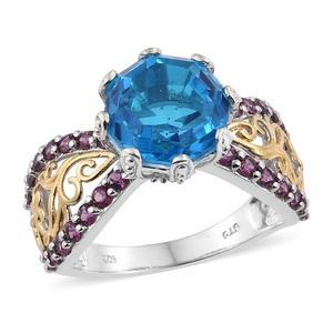 Caribbean Quartz, Orissa Rhodolite Garnet Vermeil YG and Platinum Over Sterling Silver Ring (Size 8.0) TGW 7.50 cts.