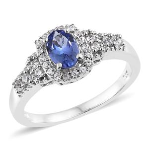 Premium AAA Tanzanite, Cambodian Zircon Platinum Over Sterling Silver Ring (Size 7.0) TGW 1.13 cts.