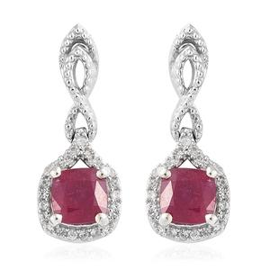 Niassa Ruby, Cambodian Zircon Platinum Over Sterling Silver Earrings TGW 3.40 cts.