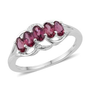 Orissa Rose Garnet Sterling Silver 5 Stone Ring (Size 5.0) TGW 1.45 cts.