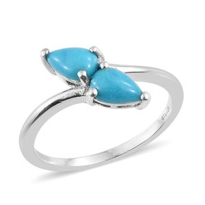 Arizona Sleeping Beauty Turquoise Platinum Over Sterling Silver Bypass Ring (Size 6.0) TGW 1.45 cts.
