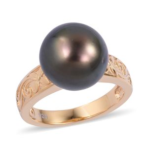Tahitian Pearl (11-12 mm) 14K YG Over Sterling Silver Solitaire Ring (Size 10.0)