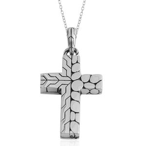 Black Oxidized Stainless Steel Cross Pendant With Chain (24 in)