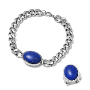 Lapis Lazuli Stainless Steel Men's Solitaire Bracelet (8.50in) and Ring (Size 12) TGW 10.00 cts.