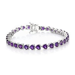 TLV African Amethyst Platinum Over Sterling Silver Bracelet (7.25 In) TGW 14.20 cts.