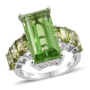 Chartreuse Quartz, Hebei Peridot Platinum Over Sterling Silver Ring (Size 7.0) TGW 17.25 cts.