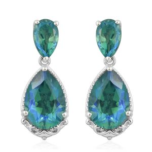Peacock Quartz Platinum Over Sterling Silver Drop Earrings TGW 8.94 cts.