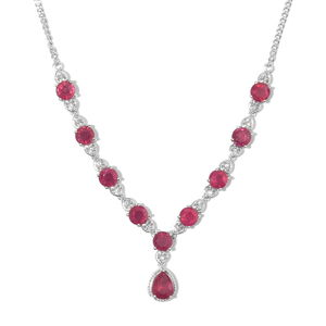 Niassa Ruby, Cambodian Zircon Platinum Over Sterling Silver Necklace (18 in) TGW 14.80 cts.