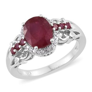 Niassa Ruby, Cambodian Zircon Platinum Over Sterling Silver Ring (Size 7.0) TGW 4.14 cts.