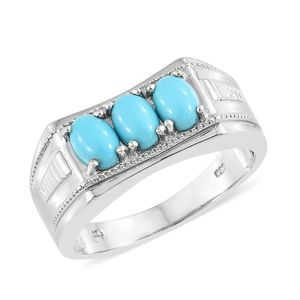 Arizona Sleeping Beauty Turquoise Platinum Over Sterling Silver Men's Trilogy Ring (Size 13.0) TGW 2.25 cts.