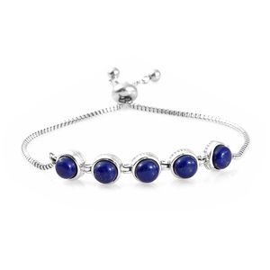 One Time Only KARIS Collection - Lapis Lazuli Platinum Bond Brass & Stainless Steel Bolo Bracelet (Adjustable) TGW 5.60 cts.