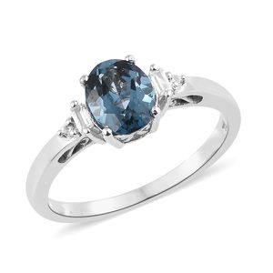 London Blue Topaz, Cambodian Zircon Platinum Over Sterling Silver Ring (Size 10.0) TGW 2.32 cts.
