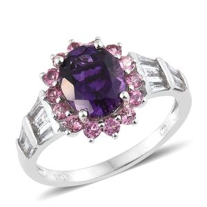 Moroccan Amethyst, Multi Gemstone Platinum Over Sterling Silver Ring (Size 10.0) TGW 4.22 cts.