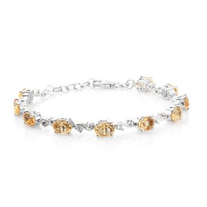 July 4th DOORBUSTER Brazilian Citrine, White Topaz Platinum Over Sterling Silver Bracelet (7.25 In) TGW 8.20 cts.