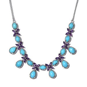 Arizona Sleeping Beauty Turquoise, Amethyst Platinum Over Sterling Silver Floral Drop Necklace (18 in) TGW 11.35 cts.