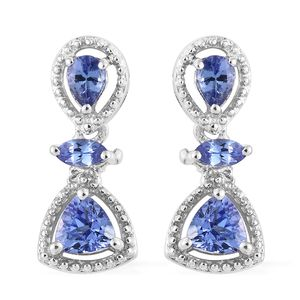 Premium AAA Tanzanite Platinum Over Sterling Silver Dangle Earrings TGW 1.22 cts.