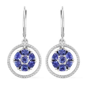 Premium AAA Tanzanite Platinum Over Sterling Silver Drop Earrings TGW 1.70 cts.