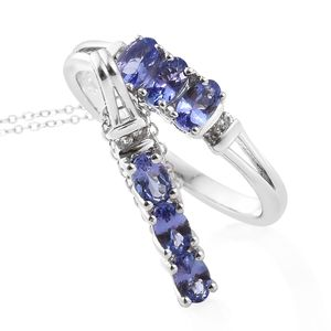 Premium AAA Tanzanite, Cambodian Zircon Platinum Over Sterling Silver Ring (Size 8) and Pendant With Chain (20 in) TGW 1.68 cts.