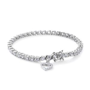 Natural White Zircon Sterling Silver Halo Heart Charm Bracelet (7.50 In) TGW 7.56 cts.