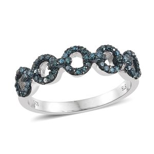 Blue Diamond (IR) Blue Rhodium & Platinum Over Sterling Silver Ring (Size 7.0) TDiaWt 0.33 cts, TGW 0.33 cts.