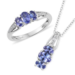 Premium AAA Tanzanite, Cambodian Zircon Platinum Over Sterling Silver Ring (Size 6) and Pendant With Chain (20 in) TGW 2.12 cts.