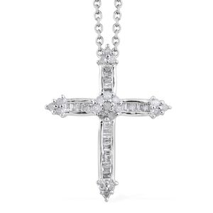 Diamond Platinum Over Sterling Silver Cross Pendant With Chain (20 in) TDiaWt 0.35 cts, TGW 0.35 cts.