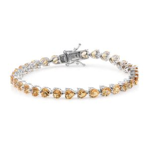 TLV Brazilian Citrine Platinum Over Sterling Silver Bracelet (7.25 In) TGW 14.20 cts.