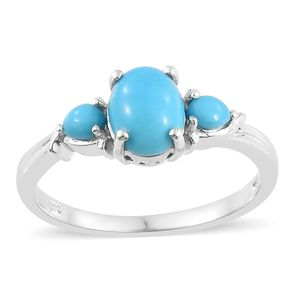 Arizona Sleeping Beauty Turquoise Platinum Over Sterling Silver 3 Stone Ring (Size 10.0) TGW 1.91 cts.