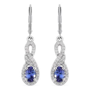 Premium AAA Tanzanite, Cambodian Zircon Platinum Over Sterling Silver Lever Back Earrings TGW 1.80 cts.