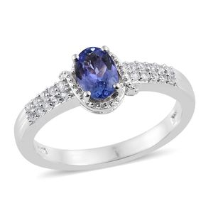 Premium AAA Tanzanite, Cambodian Zircon Platinum Over Sterling Silver Ring (Size 7.0) TGW 1.00 cts.
