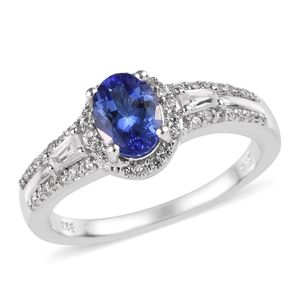 Premium AAA Tanzanite, Cambodian Zircon Platinum Over Sterling Silver Ring (Size 8.0) TGW 1.58 cts.
